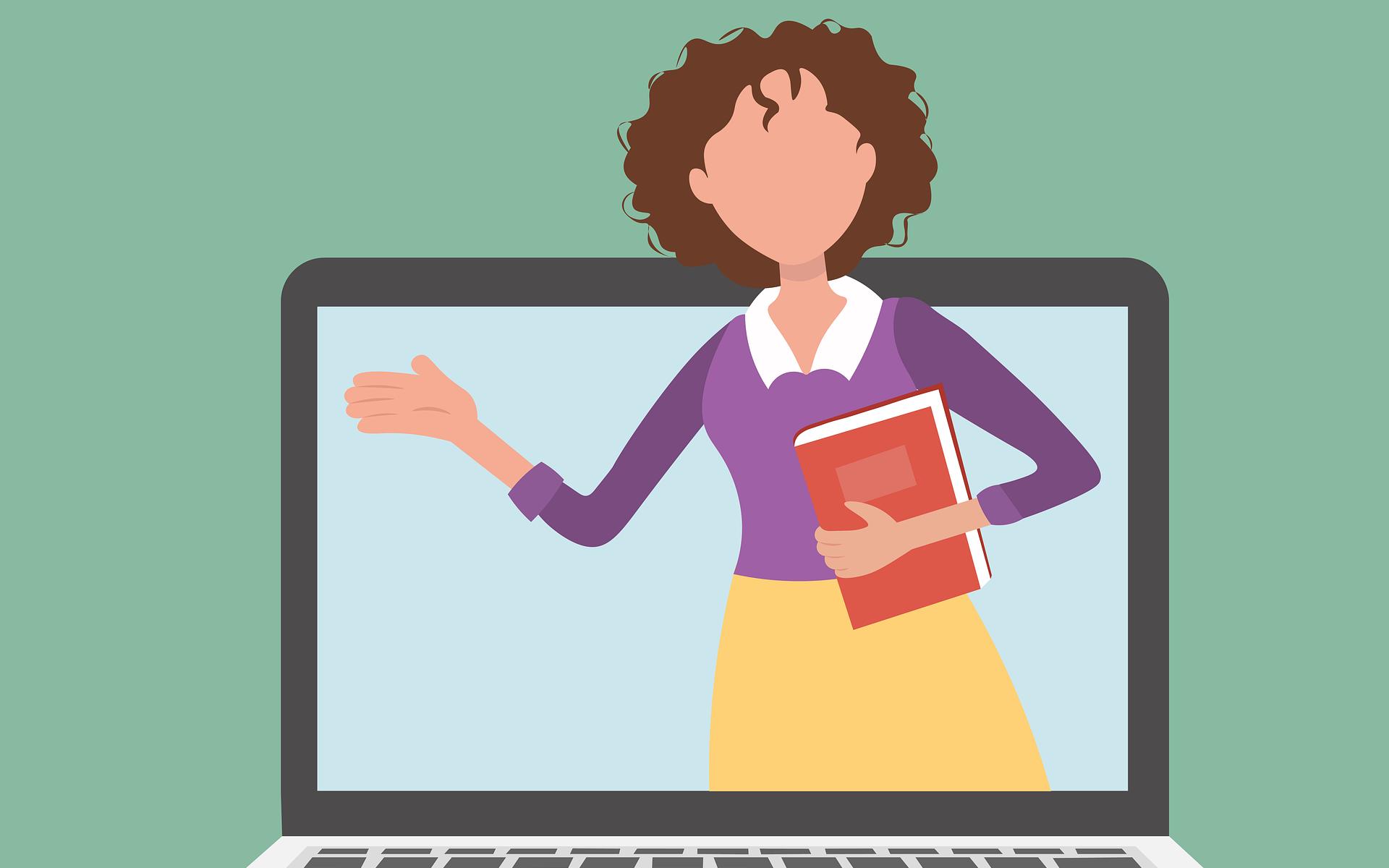 Kuvitettu kuva, jossa on kannettava tietokone, jonka ruudulla on opettaja.