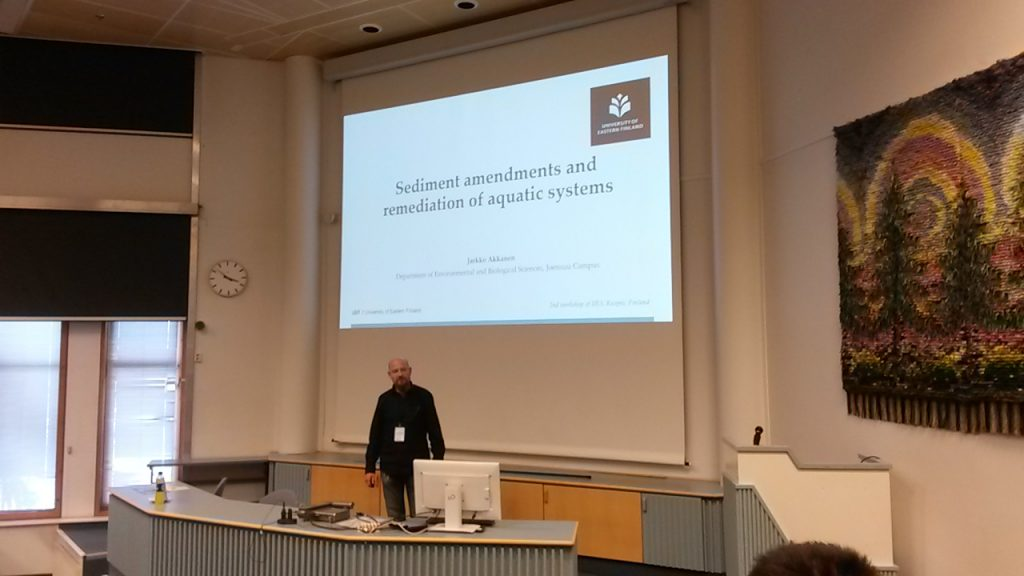 Dr. Jarkko Akkanen presenting the use of sediment amendments in remediation of aquatic systems.