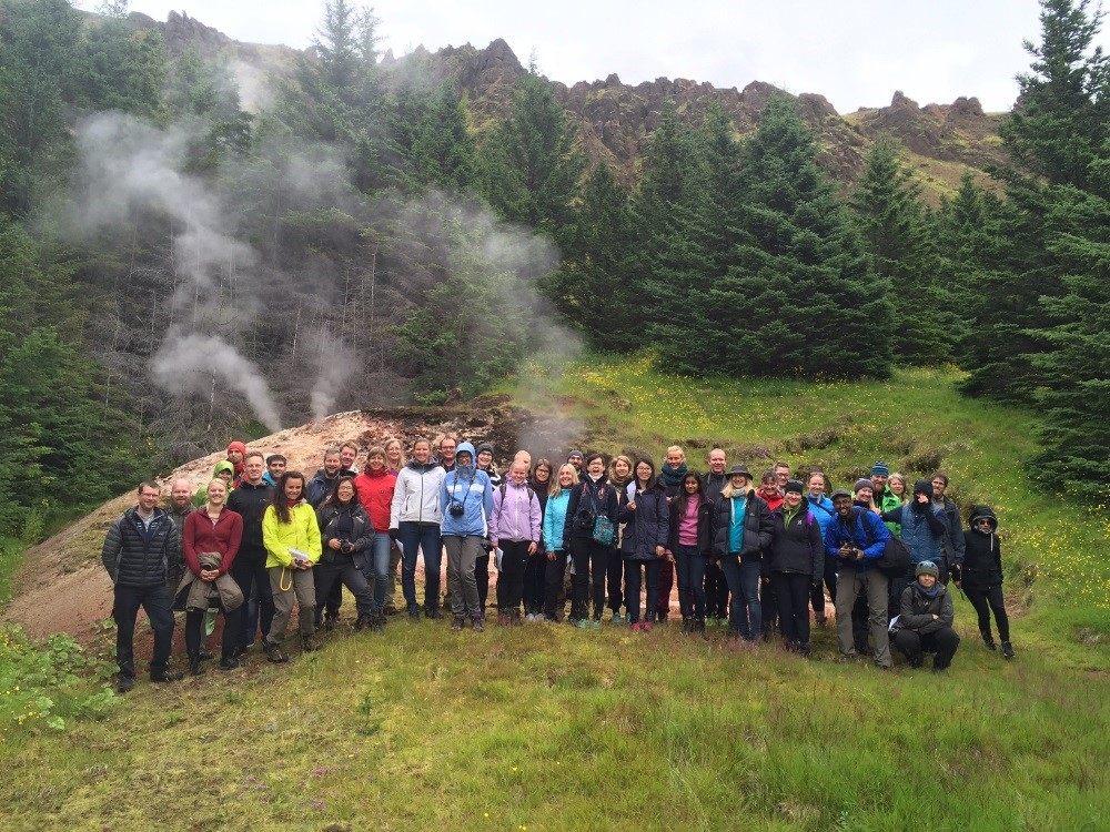 """A """"groupie"""" in excursion to a field measurement station in Hveragerði, Iceland. Picture by Bjarni D. Sigurdsson."""