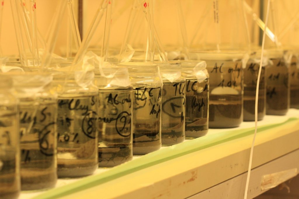 Testing activated carbon for sediment remediation in the lab.