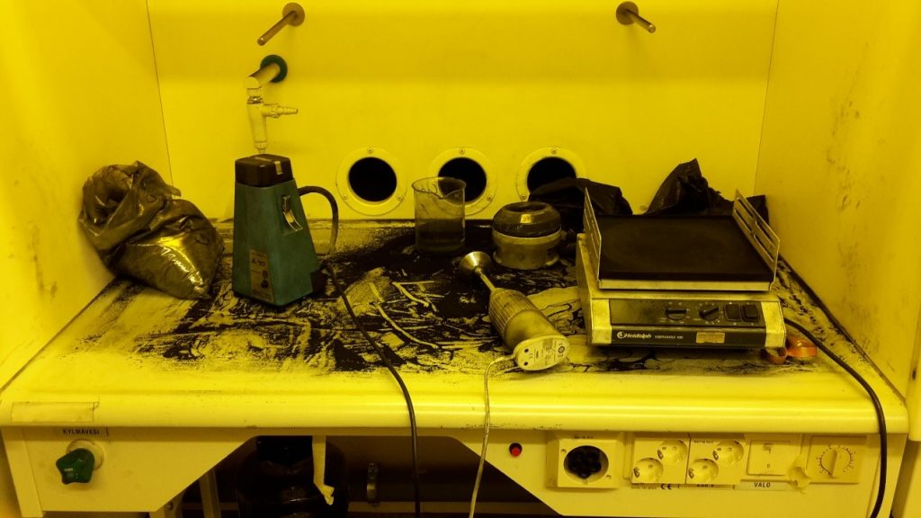 Working with activated carbon powder in the lab can be pretty messy.