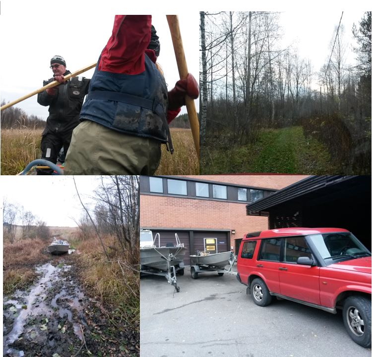 Left side: hard work with shallow waters and muddy bottom, right side: a Finnish road and our equipment.
