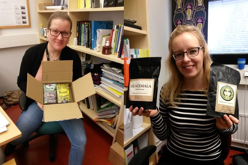 The free samples that were kindly sent to our coffee tasting. Left: Kaisa with package from Paulig. Right: Kristiina with Kaffiino coffees.