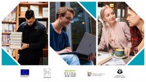 Kuvassa nuoria henkilöitä kirjojen, tietokoneen ja kahvikupin ääressä sekä logot: ESR, HUMUS, Vipuvoimaa EU:lta, ELY-keskus, UEF