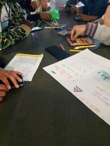 Pöydällä näkyy ihmisten käsiä, kyniä, papereita ja kännyköitä.