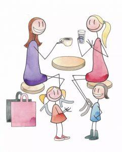 Kaksi äitiä ja kaksi lasta kahvilassa