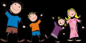 Piirretty kuva, jossa on lapsia