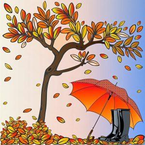 Syksyinen puu ja sateenvarjo