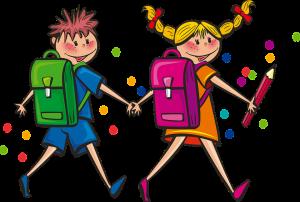 Kaksi lasta koulureput selässä