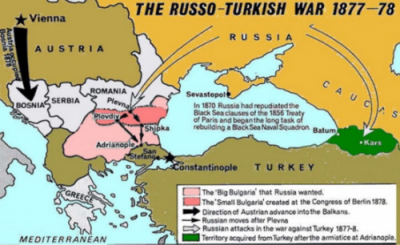 Map presenting changing borders of Bulgaria in the Russo-Turkish War of 1877-78