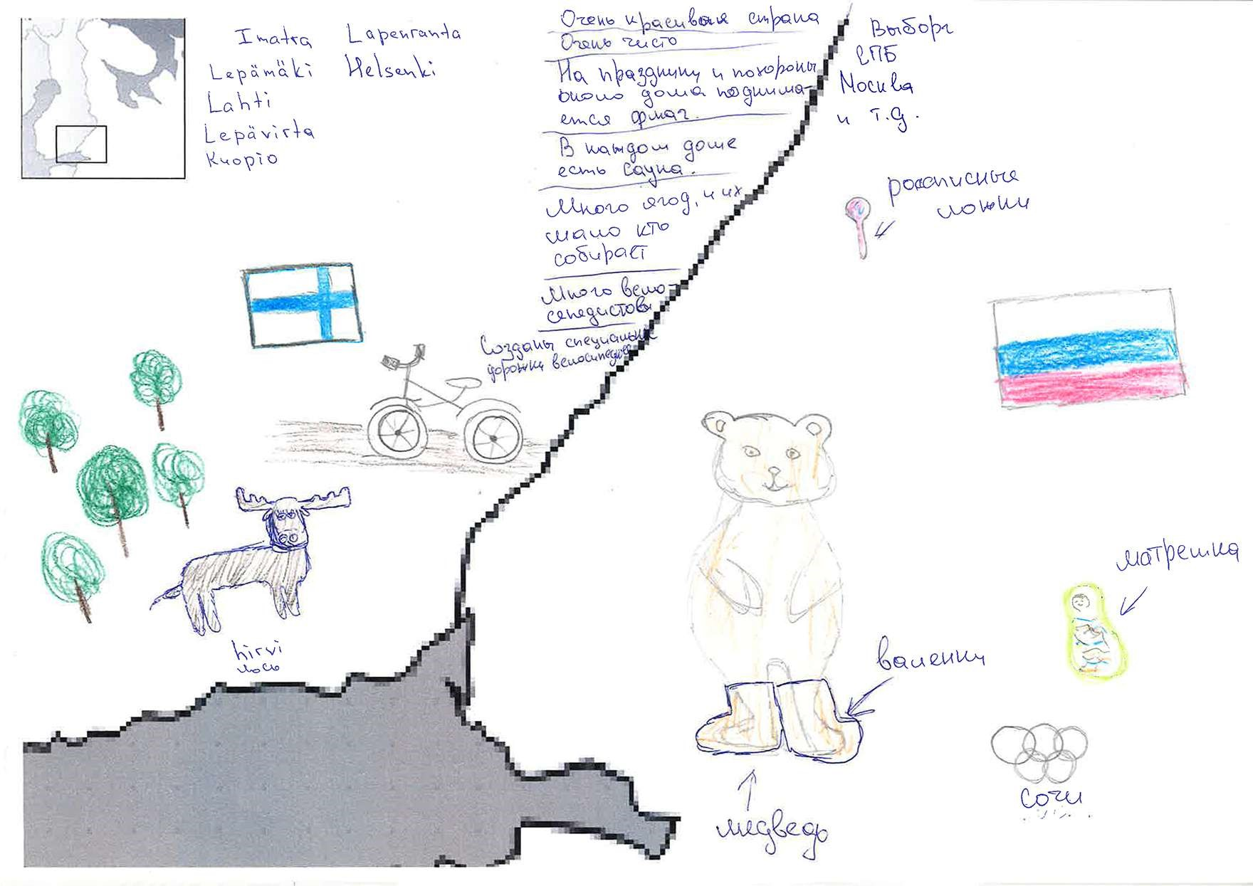 "Drawing: Finnish-Russian border. In Russia, bear in ""valenki"", Olympic rings of Sochi, Russian flag, Matroshka doll, spoon, written names of cities. In Finland, bicycle, Finnish flag, moose, forest, written names of towns, written e.g., ""very beautiful country, very clean"""