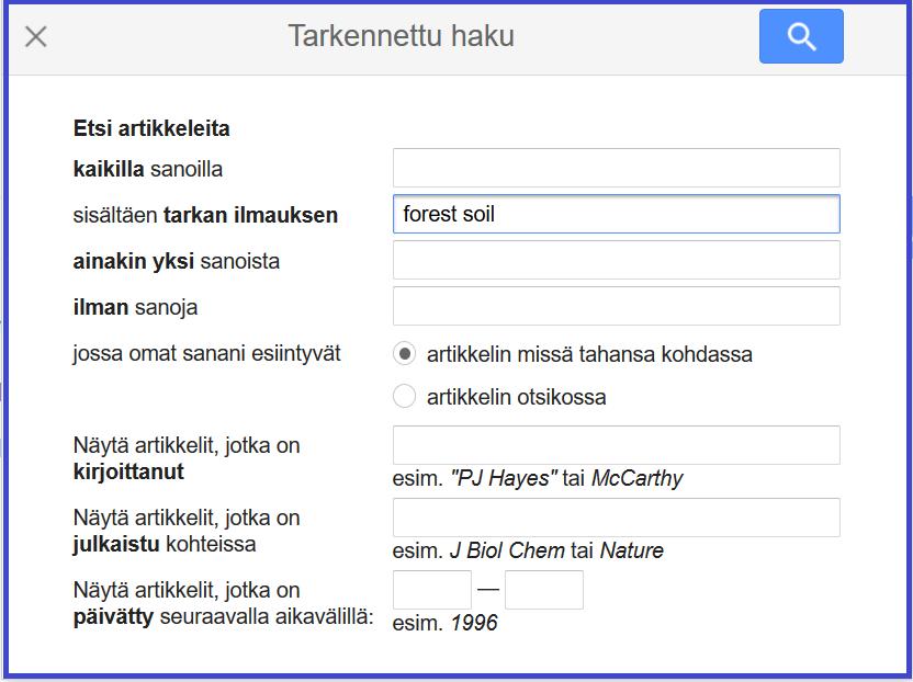 Google Scholarin tarkennetussa haussa fraasi ilmaistaan valitulla määreellä: sisältäen tarkan ilmauksen.