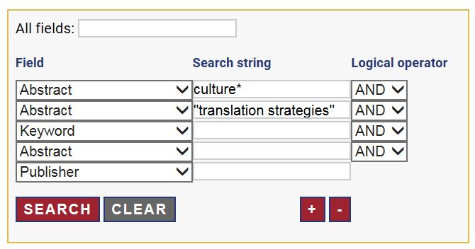"""Tietokannan Translation Studies Bibliography tarkennetun haun lomake, jossa on tehty haku hakulausekkeella culture AND """"translation strategies"""". Hakusanat on kohdistettu Abstract-kenttään."""