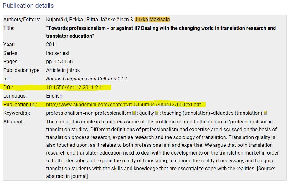 Artikkelin kuvailutiedot, jossa näkyy sekä DOI että url-linkki artikkelin kokotekstiin.