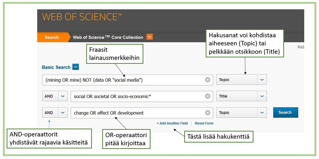 Hakuesimerkki Web of Sience -tietokannasta.