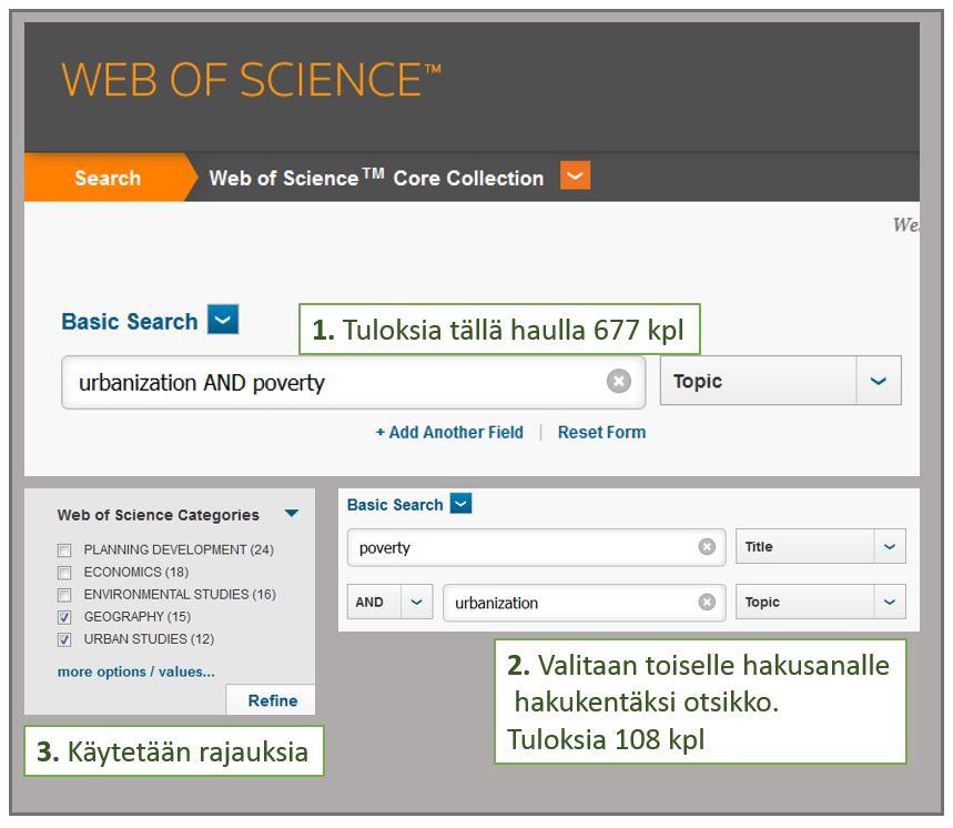 Laajaa Web of Science -hakutulosta pienennetään toisella hakusanalla ja rajauksilla