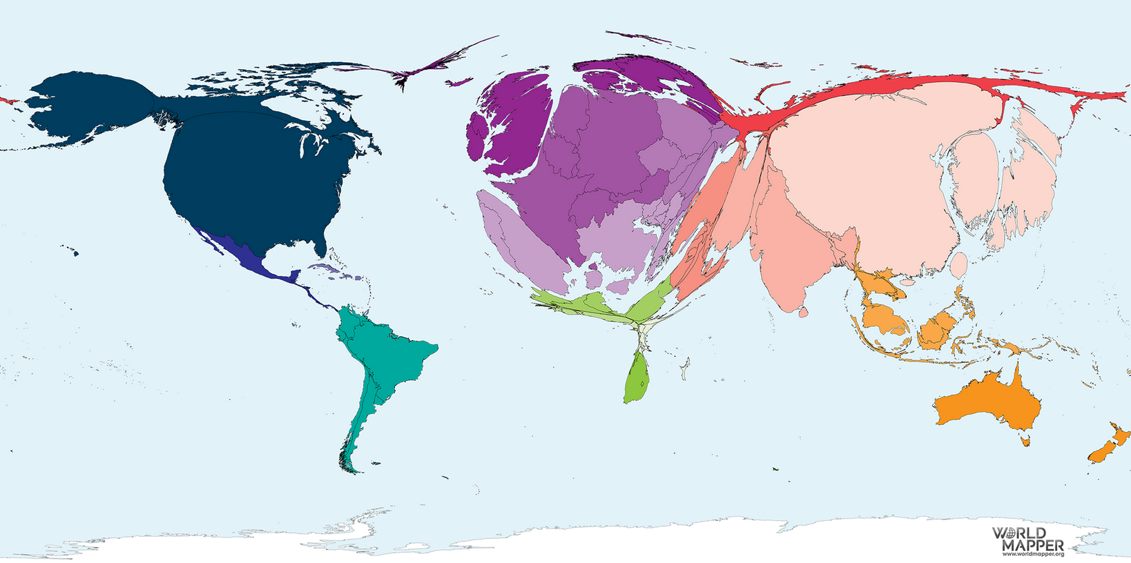 Kartta kuvaa eri värein maiden ja maanosien julkaisuvoluumia.