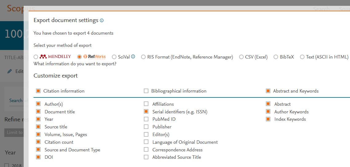 Export -linkin kautta voi usein siirtää tietoa RefWorksiin.