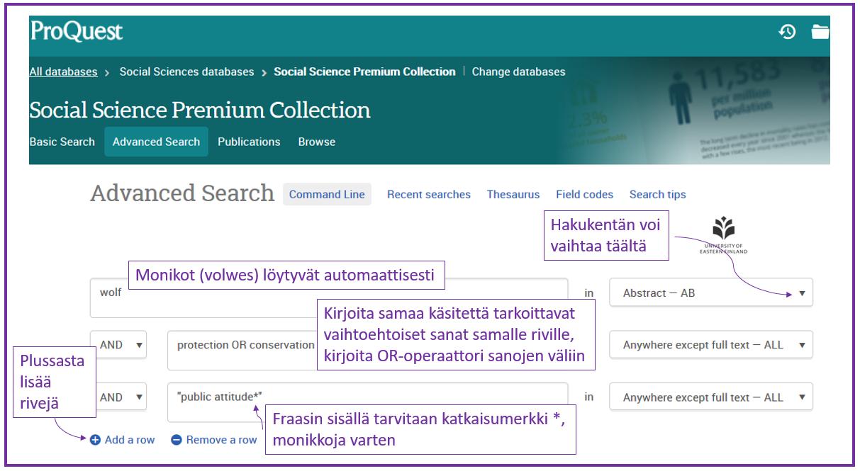 Esimerkkihaku ProQuest -tietokannasta.