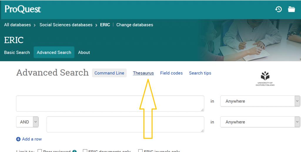 Eric-tietokannan käyttöliittymä, josta linkki tesaurukseen.