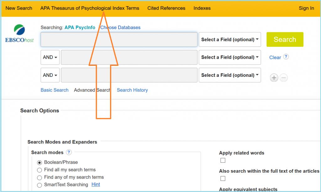 PsycInfon käyttöliittymä ja siinä linkki APA:n tesaurukseen.