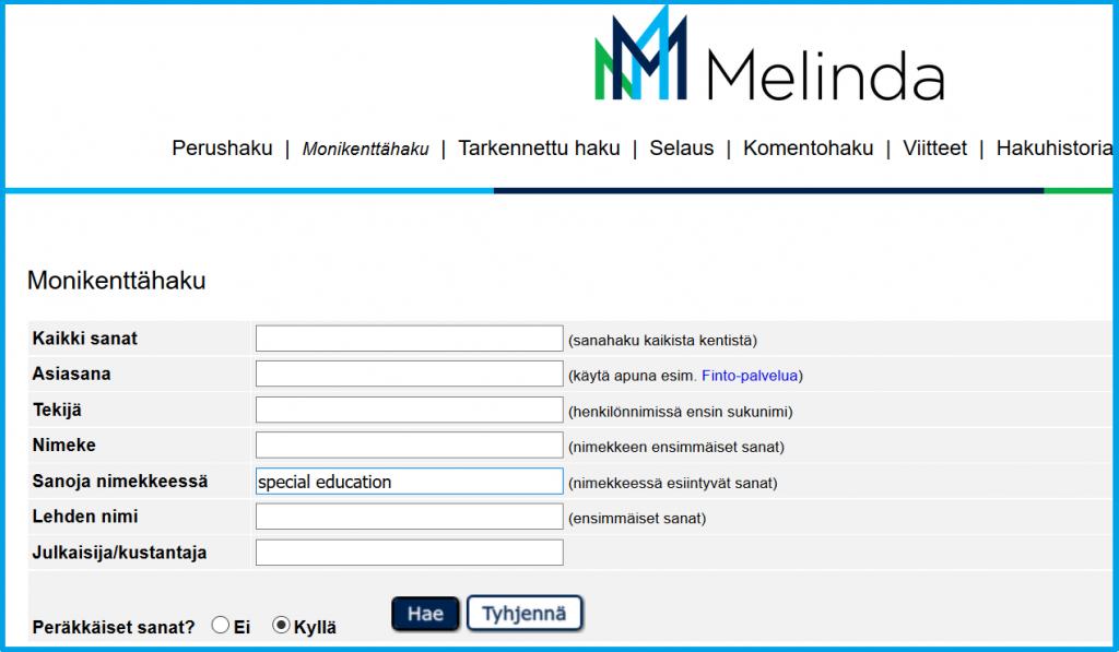 Haetaan Melinda-tietokannasta kirjoja, joiden nimessä ovat sanat special ja education peräkkäin, siis yhdessä fraasina.