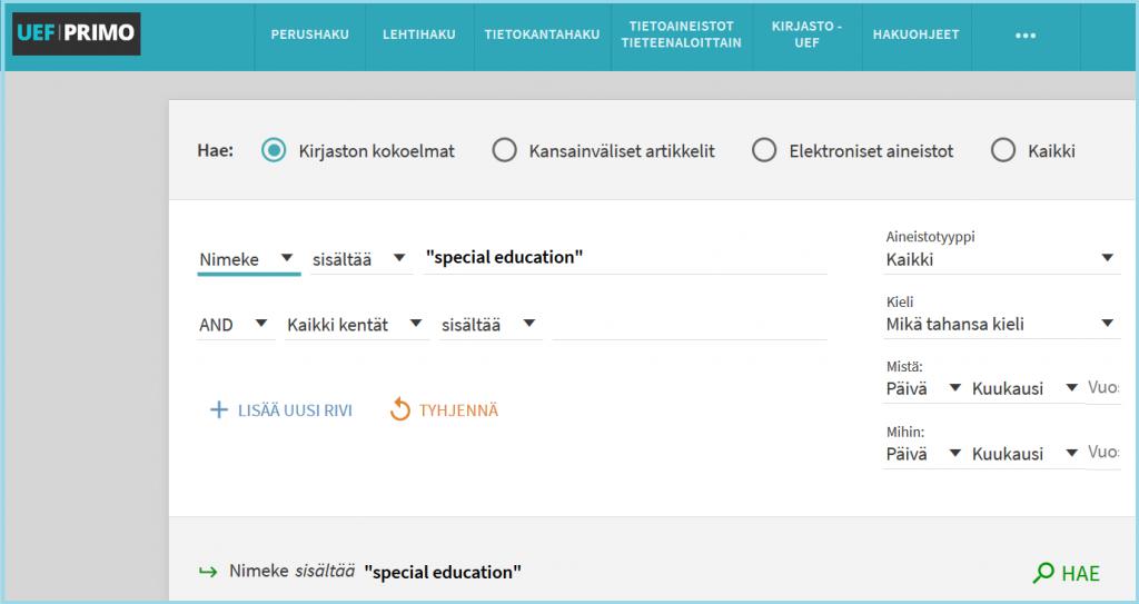"""UEF-Primon tarkennetun haun lomake, siinä haetaan fraasia """"special education"""" kirjojen nimistä."""