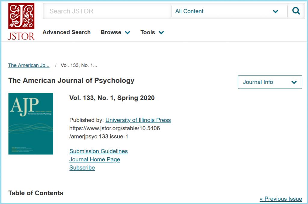 Yksittäisen lehden tietue JSTOR-tietokannassa
