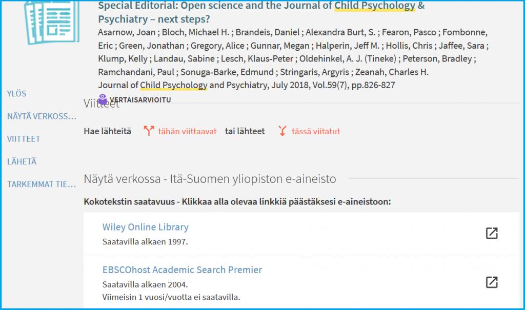 Artikkeliviite, jossa on kaksi linkkiä artikkelin koko tekstiin, toinen Wiley-kustantajan, ja toinen EBSCO-välittäjän palveluun.