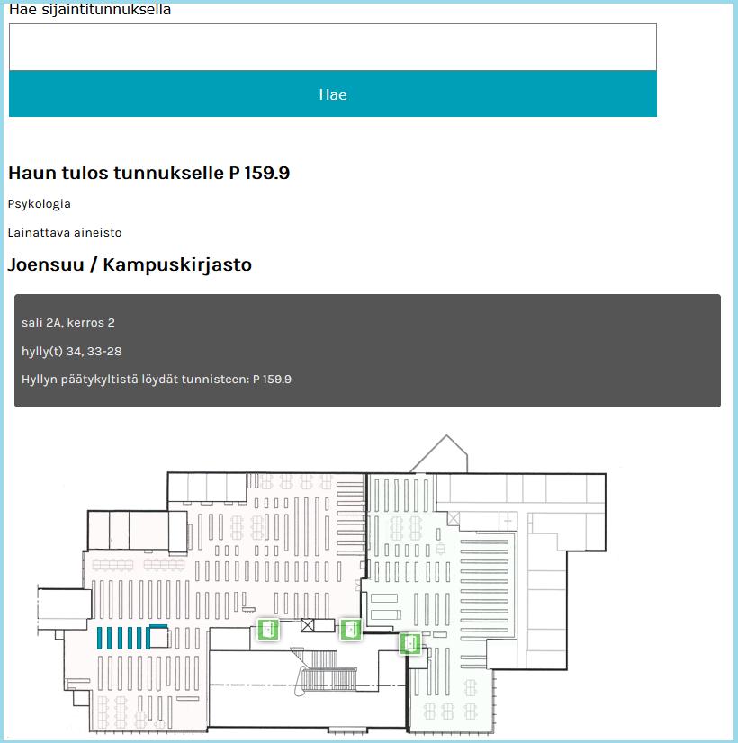Kartta kirjaston hyllyjen ja paikan P 159.9 sijainnista salissa A2.