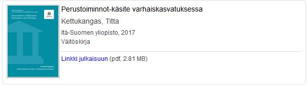Väitöskirja e-kirjana: Kettukangas, Titta, Perustoiminnot-käsite varhaiskasvatuksessa.