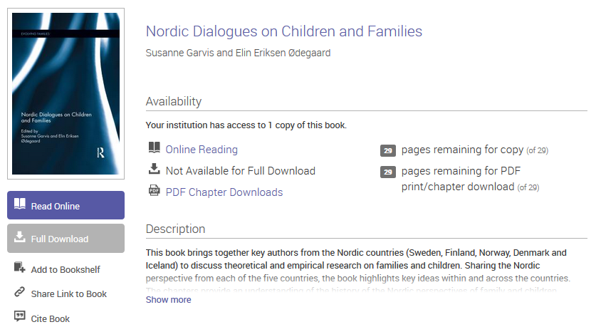 E-kirja: Nordic Dialogues on Children and Families.