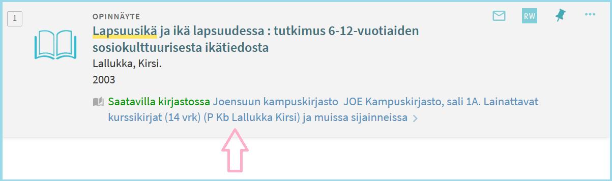 Kirjan paikkamerkki P Kb (Joensuun lainattavat kurssikirjat), aakkostussana tässä tekijän sukunimi Lallukka.