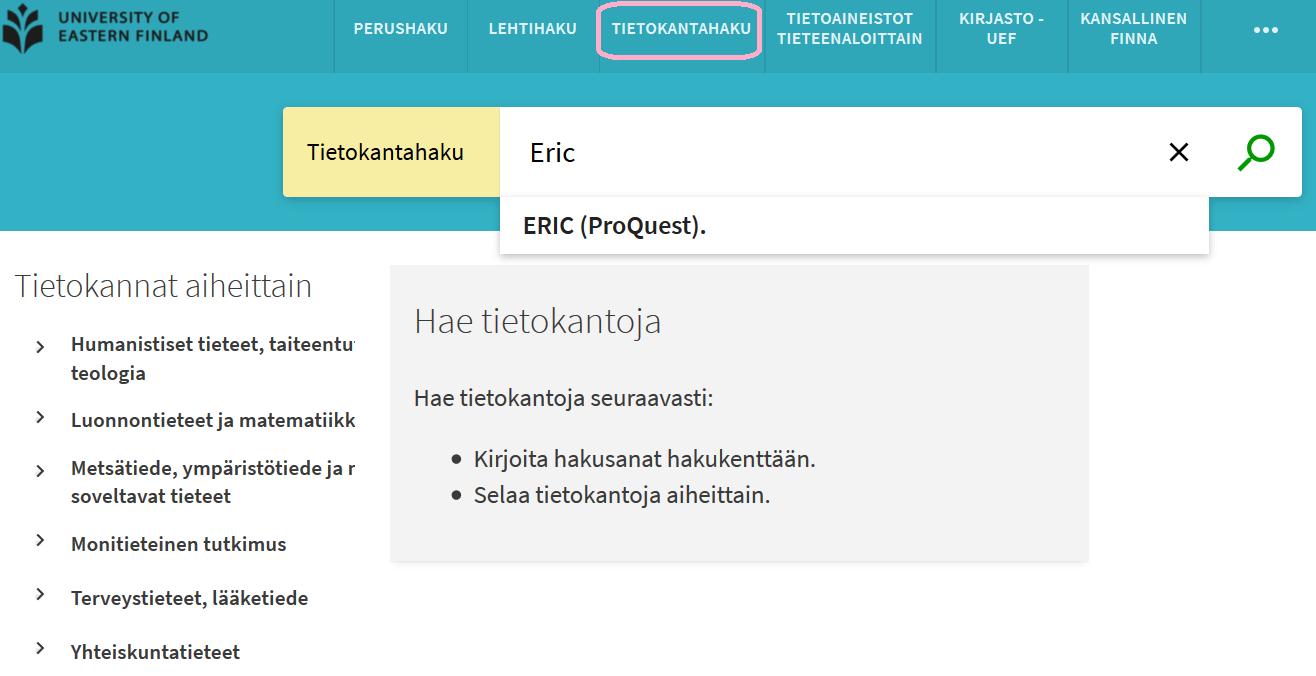 UEF-Primon tietokantahausta saadaan käyttöön Eric-tietokanta.