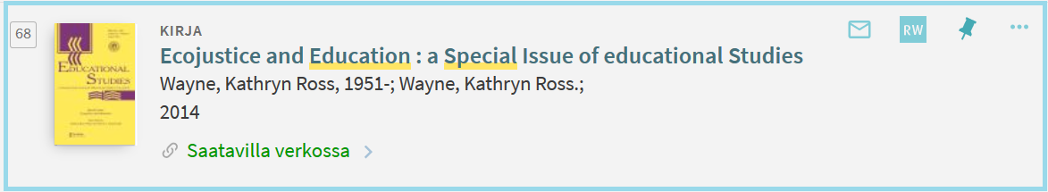 Kirja: Ecojustice and education : a special issue of educational studies.