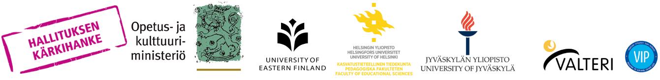 Logot: Kärkihanke, OKM, Helsingin yliopisto, Itä-Suomen yliopisto, Jyväskylän yliopisto, ja yhteistyössä Valteri, VIP-verkosto