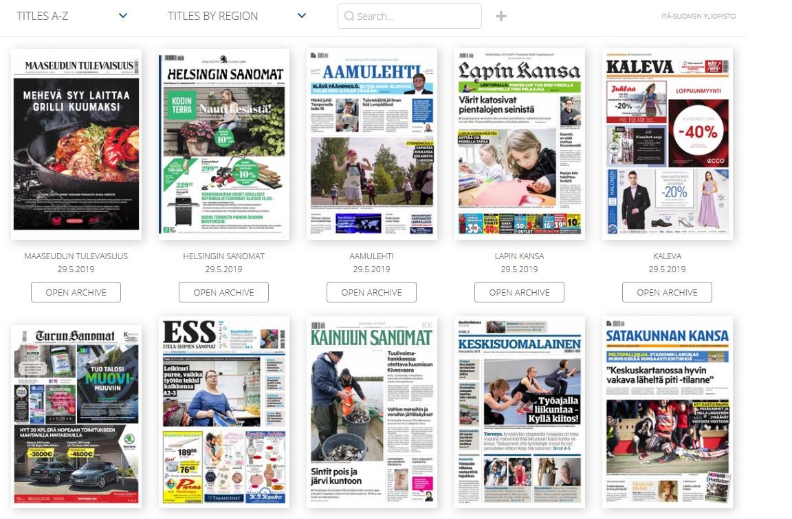 sanomalehtien kansikuvia