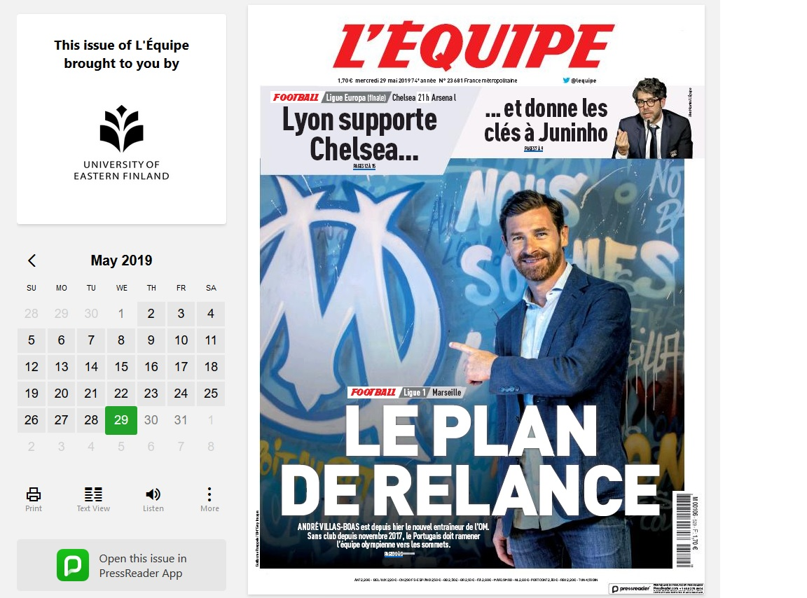 L'Equipe-nimisen lehden kansi PressReader-näkymässä