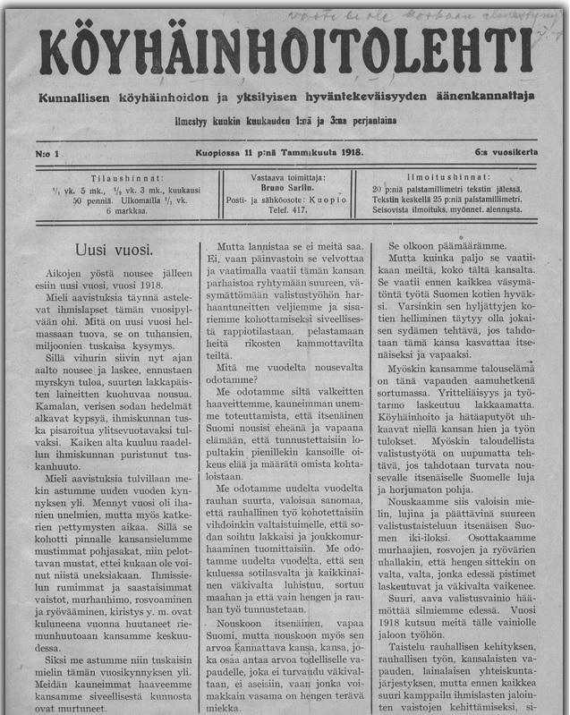 Köyhäinhoitolehden etusivu 11.1.1918.