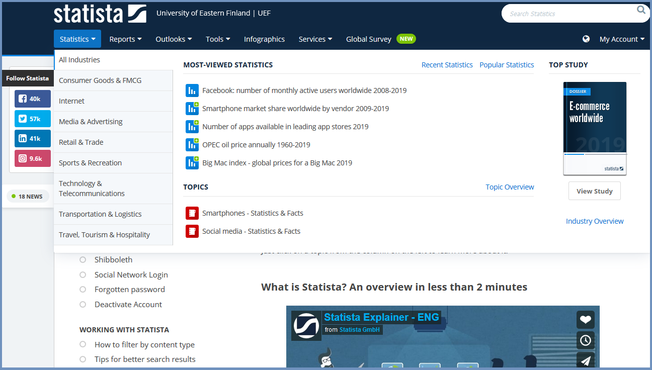 Statista front page: Most viewed statistics. Topics. Search box.