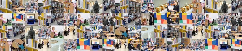 Kokoelma pikkukuvia kirjastosta. Collection of thumbnail pictures of library.