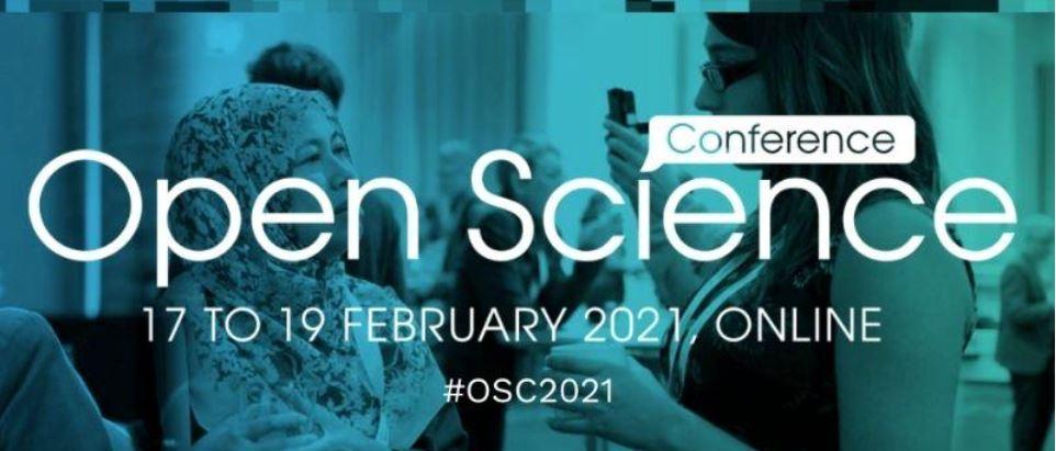 Teksti Open Science Conference 17 to 19 February 2021, online, #OSC2021, taustalla keskustelevia ihmisiä. Text Open Science Conference Teksti Open Science Conference 17 to 19 February 2021, online, and people talking at the background.