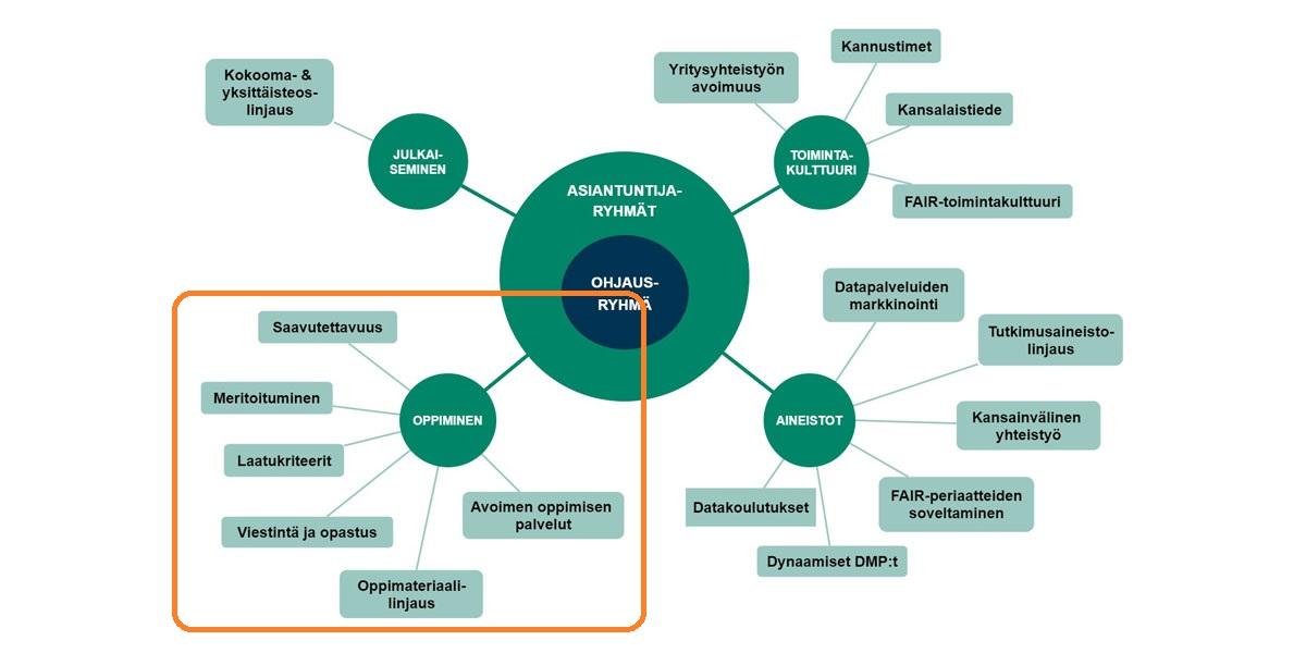 Avoimen tieteen organisaation kaavio. Avoimen tieteen ja tuktimuksen koordinaatiomalli perustuu työryhmien, asiantuntijaryhmien ja ohjausryhmän yhteistyöhön. Ohjausryhmässä on edustajia keskeisistä organisaatioista, ja sen tehtävä on hyväksyä suomalaiset avoimen tieteen ja tutkimuksen linjaukset. Seuraava kehä koostuu asiantuntijarymistä, jotka määrittelevät kärkiteemat ja pohtivat työryhmien jatkoa ja uusien perustamista. Määräaikaiset työryhmät edistävät tiettyjä, määriteltyjä tehtäviä.