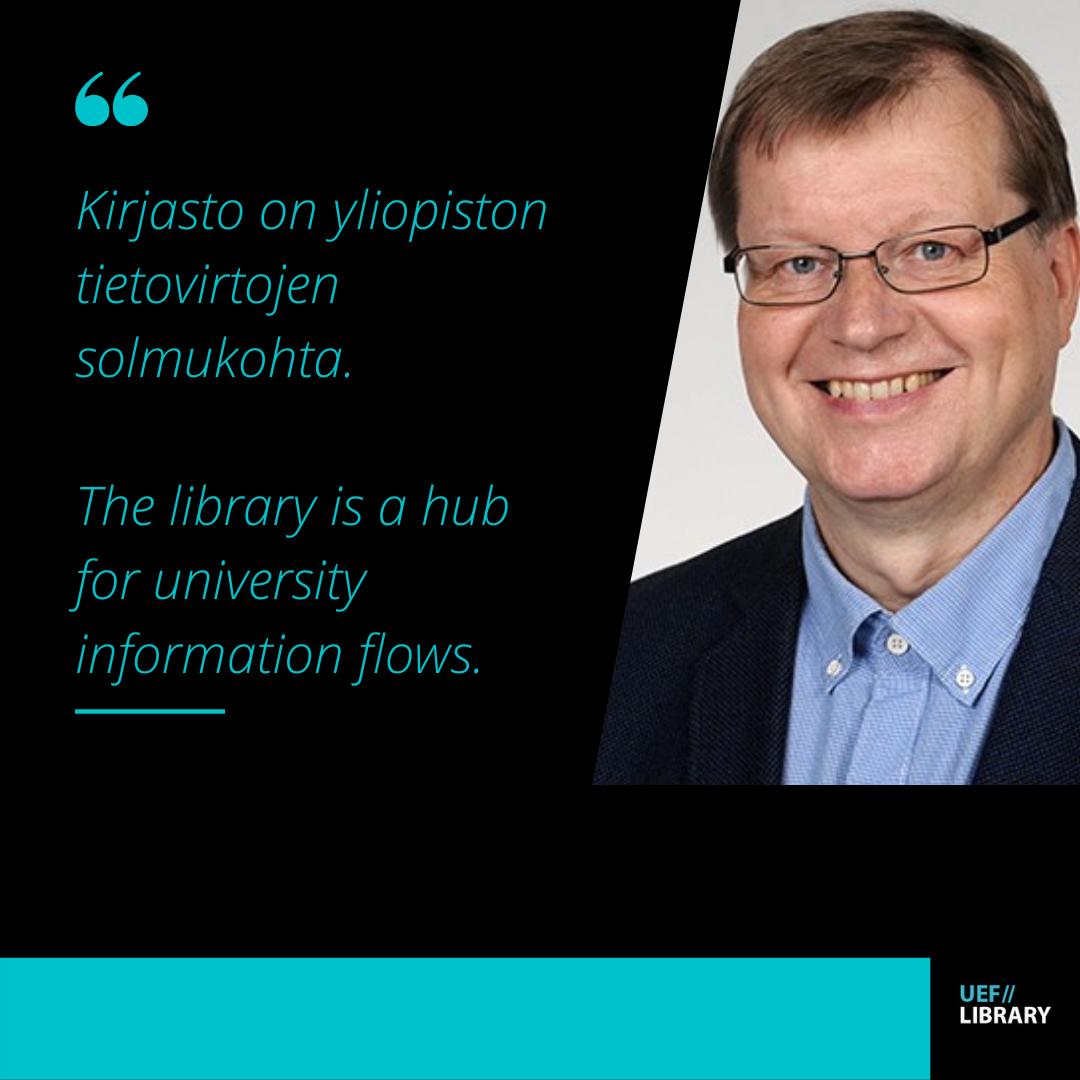 Teksti: Kirjasto on yliopiston tietovirtojen solmukohta. Text: The library is a hub for university information flows. Kuva: Kasvot. Picture: Face.