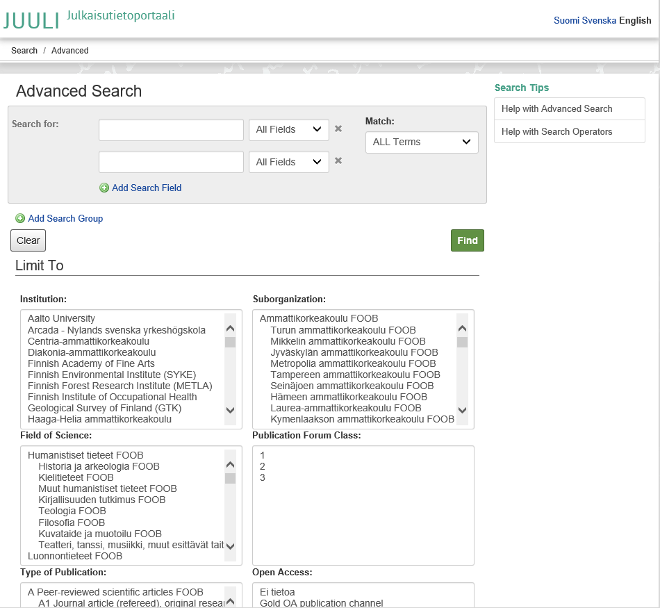 Screen capture on JUULI database. In advanced search you can e.g. limit your search to institution, field of science, type of publication, suborganization, publication forum class or open access type.