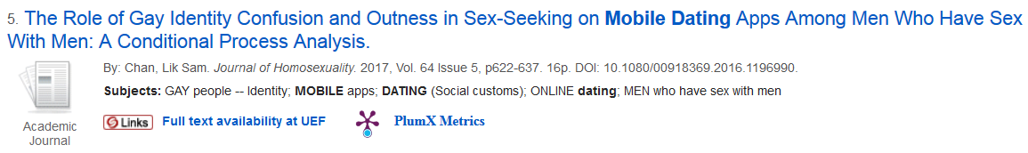 """Result for the search tinder and mobile dating is an article called """"The role of gay identity confusion and outness in sex-seeking on mobile dating apps among men who have sex with men""""."""