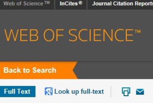 Decorative image. Screen capture of Web of Science database. Link to the database.